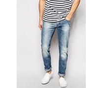 Twister Schmal geschnittene Jeans in heller Vintage-Waschung Blau