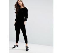 Originals Velvet Long Sleeve Jumpsuit With Tonal Mini Trefoil Logo Schwarz