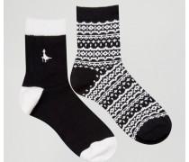 Pullborough Socken im 2er-Pack Schwarz