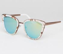 Katzenaugen-Sonnenbrille mit marmoriertem Metalleinsatz und getönten Gläsern Mehrfarbig