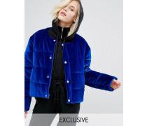Übergroße, wattierte Jacke ohne Kragen aus Samt Blau