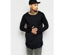 Lang geschnittenes, langärmliges T-Shirt in gesprenkelter Optik Schwarz
