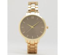 Goldene Uhr mit Oversize-Zifferblatt Gold