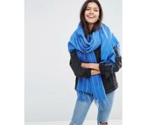 Langer gewebter Oversize-Schal mit Nadelstreifenmuster Blau