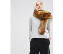 Langer ingwerfarbener Schal aus Kunstleder Braun