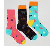 3 Paar Halloween-Socken als Geschenkset Mehrfarbig