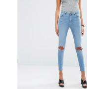 RIDLEY Enge Jeans mit Rissen in Hiro-Waschung Blau