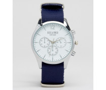 Chronographenuhr mit blauem Canvas-Armband Blau