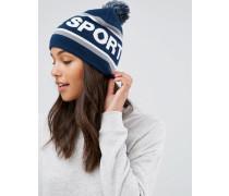 Mütze mit Bommel Marineblau