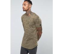 Langes T-Shirt mit texturierten Einsätzen Grün