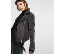 Biker-Jacke aus Wildleder mit gerippten Details Grau