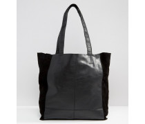 Ungefütterte Shopper-Tasche aus Leder Schwarz