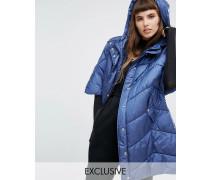 Oversized-Jacke im Cape-Stil mit wattiertem Kragen und Kapuze Marineblau