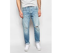 Levi's 501 Customized Tonopah Karottenjeans in Dirty Dawn Light Ripped-Waschung Blau