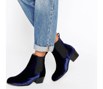 Femme London Chelsea-Stiefel aus Samt in Marineblau Marineblau