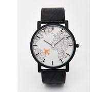 Uhr mit Sekundenzeiger im Flugzeugdesign Schwarz