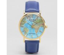 Blaue Armbanduhr mit Landkarten-Ziffernblatt Braun