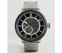 AX1415 Silberne Automatik-Armbanduhr aus Edelstahl Silber