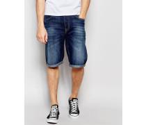 Jeansshorts mit 5 Taschen, gerader Passform und dunkelblauer Sphere-Waschung Blau