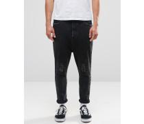 Schwarze Jeans mit tiefem Schritt, Rissen und Flicken Schwarz