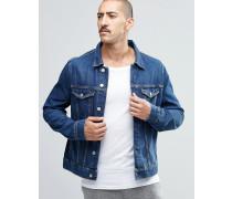 Single Schmal geschnittene Jeansjacke in Klassisch-Blau Blau