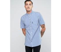 Kariertes, kurzärmliges Hemd Marineblau
