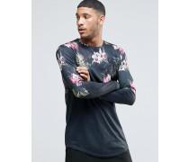 Langärmliges Shirt mit Blumenprint Schwarz