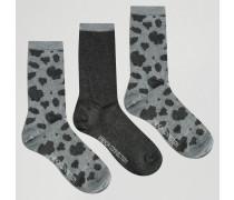 3er-Pack Socken mit Animalprint, Geschenkbox Grau