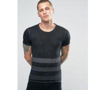 Gestreichtes schwarzes Hemd mit Burnout-Streifen Schwarz