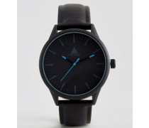 Schwarze Armbanduhr mit blauen Highlights Schwarz