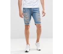 Brooklyn Supply Co Schmale Jeans-Shorts mit extremen Rissen in mittlerer Waschung Blau