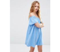 Schulterfreies Minikleid Blau