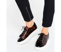 Sneaker mit flacher Plateausohle in Schildplattoptik Mehrfarbig