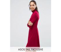 Hochgeschlossenes Minikleid mit elastischem Taillenbund Rot