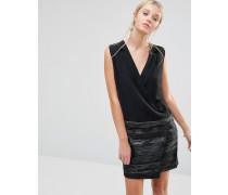 Kleid im Smokingdesign mit Jacquard-Rock Schwarz