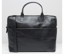 Courier Single Leder-Satchel in Schwarz Schwarz