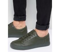 Khakifarbene Sneaker zum Schnüren mit Military-Details Grün