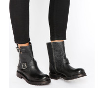 Femme Beth Biker-Stiefel aus schwarzem Leder Schwarz