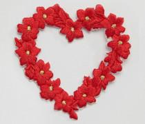 Blumen-Emblem mit aufgesticktem Herzmotiv Mehrfarbig
