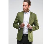 Enger Blazer aus Baumwollsatin in hellem Khaki Grün