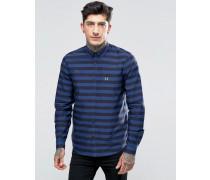 Hemd mit breiten Streifen in Mittelalterblau und schmaler Passform Blau
