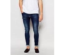 Brooklyn Supply Co Superenge Jeans in verschlissenem Blau Blau