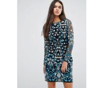 Kleid mit Spitzenstickerei Mehrfarbig
