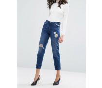 True Boyfriend-Jeans mit Rissen Blau