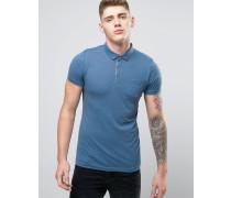 Einfarbiges Jersey-Polohemd mit Knopfleiste mit Kontrastfarbe innen Blau