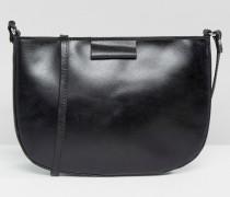 Umhängetasche aus Leder mit abgerundeten Rand Schwarz