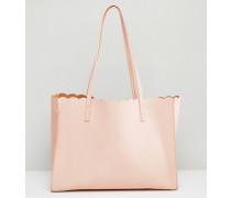 Shopper-Tasche mit Bogenkante und abnehmbarer Clutch Rosa