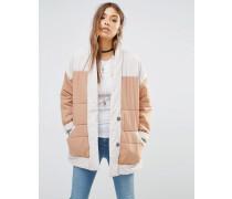 Gesteppte Popeline-Jacke mit Farbblockdesign Beige