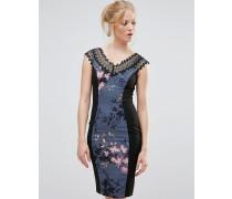 Figurbetontes Kleid mit Blumenmuster und Spitze Grau