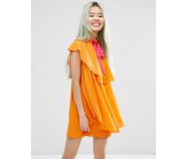 Hochgeschlossenes Minikleid mit Rüschen Orange